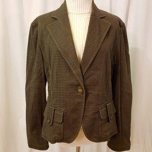 Bandolino sz XL brown stretch textured blazer jack